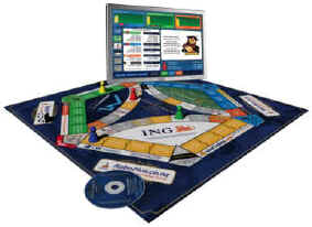 The game is played on a board and electronically using the game CD.